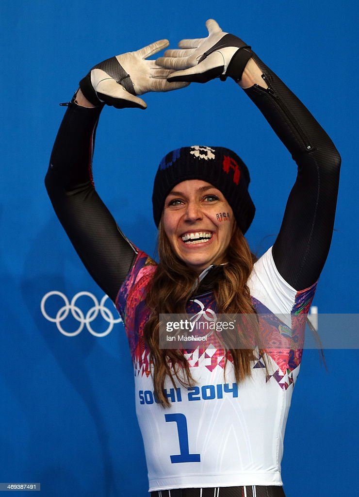 Noelle Pikus-Pace of USA is celebrates after winning silver in the Women's Skeleton Final on Day 7 of the Sochi 2014 Winter Olympics at Sliding Center Sanki on February 14, 2014 in Sochi, Russia.