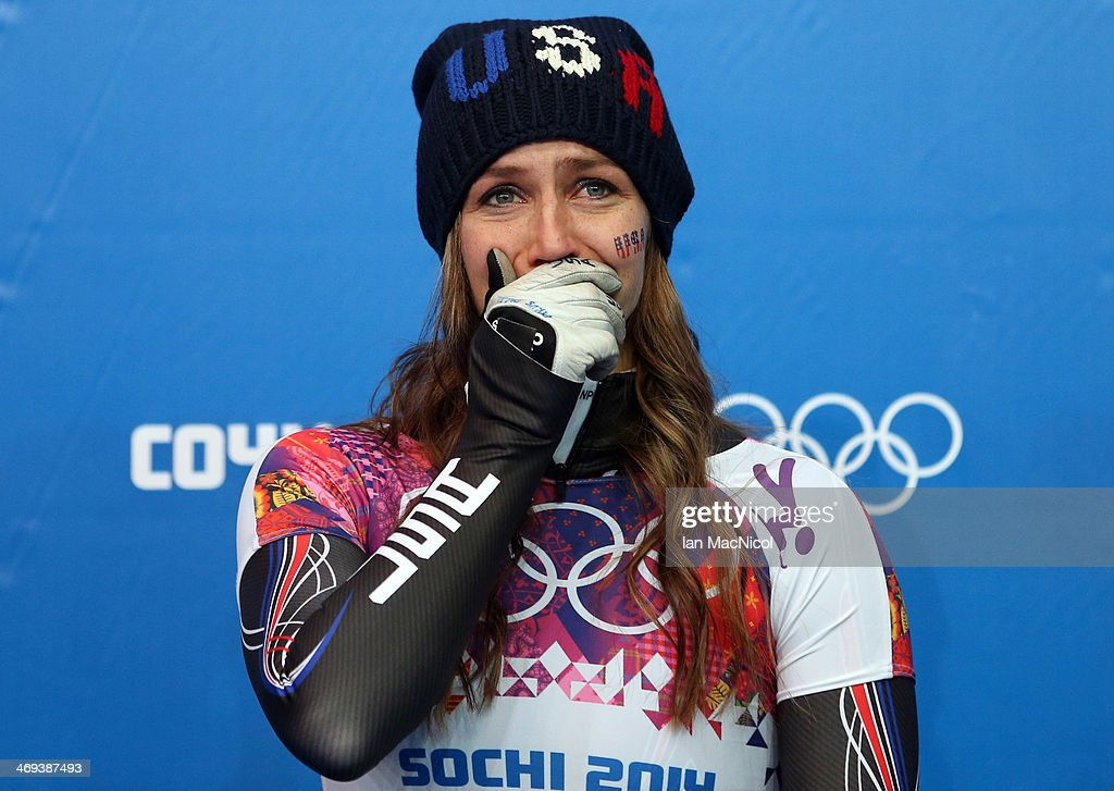 Noelle Pikus-Pace of USA is emotional after winning silver in the Women's Skeleton Final on Day 7 of the Sochi 2014 Winter Olympics at Sliding Center Sanki on February 14, 2014 in Sochi, Russia.