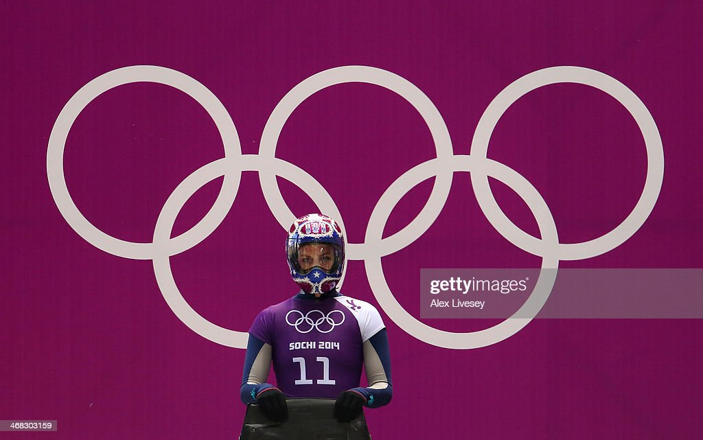 Noelle PikusPace of USA prepares to make a run during a Women's Skeleton training session on Day 3 of the Sochi 2014 Winter Olympics at the Sanki...