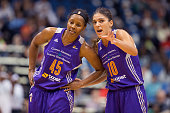 Noelle Quinn and Marta Xargay Casademont of the Phoenix Mercury talk against the Minnesota Lynx during Game One of the WNBA Western Conference Finals...