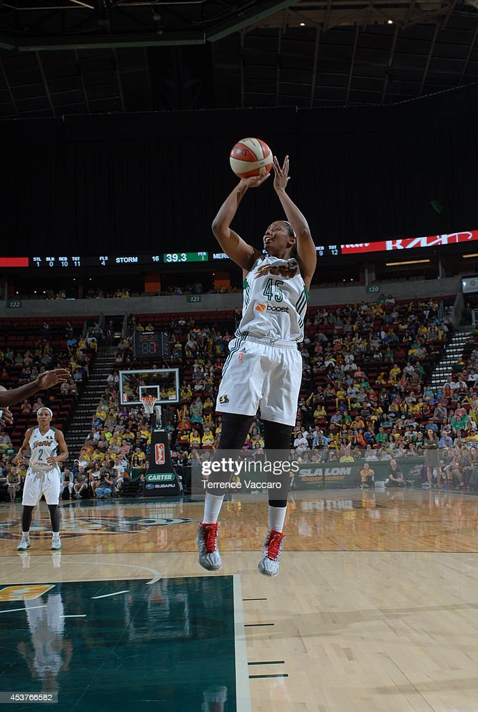 Noelle Quinn #45 of the Seattle Storm shoots the ball against the Phoenix Mercury during the game on August 17, 2014 at Key Arena in Seattle, Washington.
