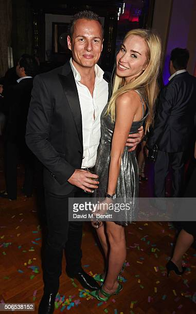 Noelle Reno and Nick Perks attend Lisa Tchenguiz's birthday party on January 23 2016 in London England