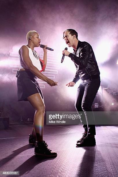 Noelle Scaggs and Michael Fitzpatrick of Fitz And The Tantrums perform onstage at Hollywood Palladium on April 5 2014 in Hollywood California