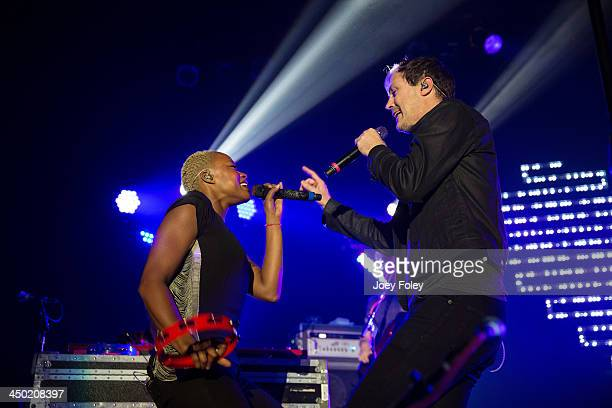 Noelle Scaggs and Michael Fitzpatrick of Fitz and The Tantrums performs in concert at Egyptian Room at Old National Centre on November 16 2013 in...