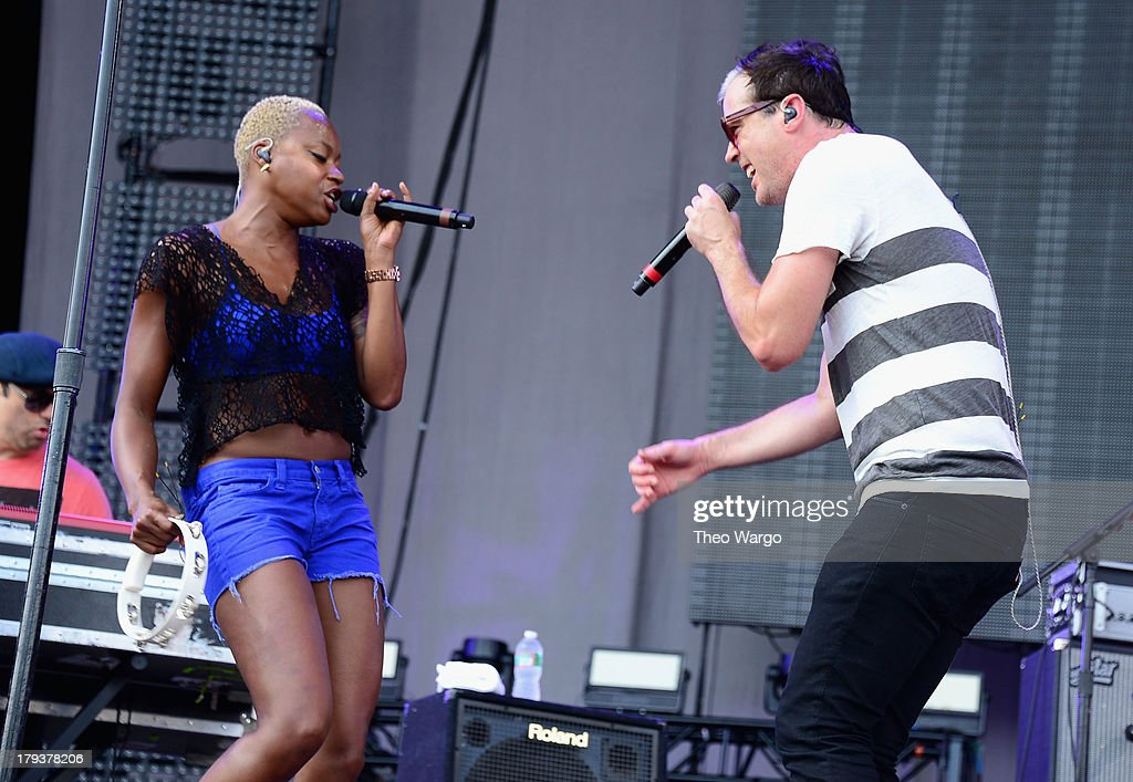 Noelle Scaggs (L) and Michael Fitzpatrick of Fitz and The Tantrums perform during the 2013 Budweiser Made In America Festival at Benjamin Franklin Parkway on September 1, 2013 in Philadelphia, Pennsylvania.