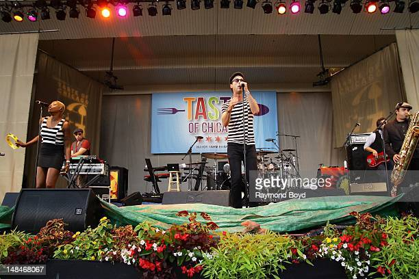 Noelle Scaggs Jeremy Ruzumna Michael Fitzpatrick Joseph Karnes and James King of Fitz The Tantrums performs on the Petrillo Music Shell during the...