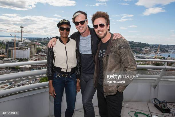 Noelle Scaggs Michael Fitzpatrick and Joe Karnes of Fitz and Tantrums pose for a photo after performing an EndSession at the 1077 The End station on...