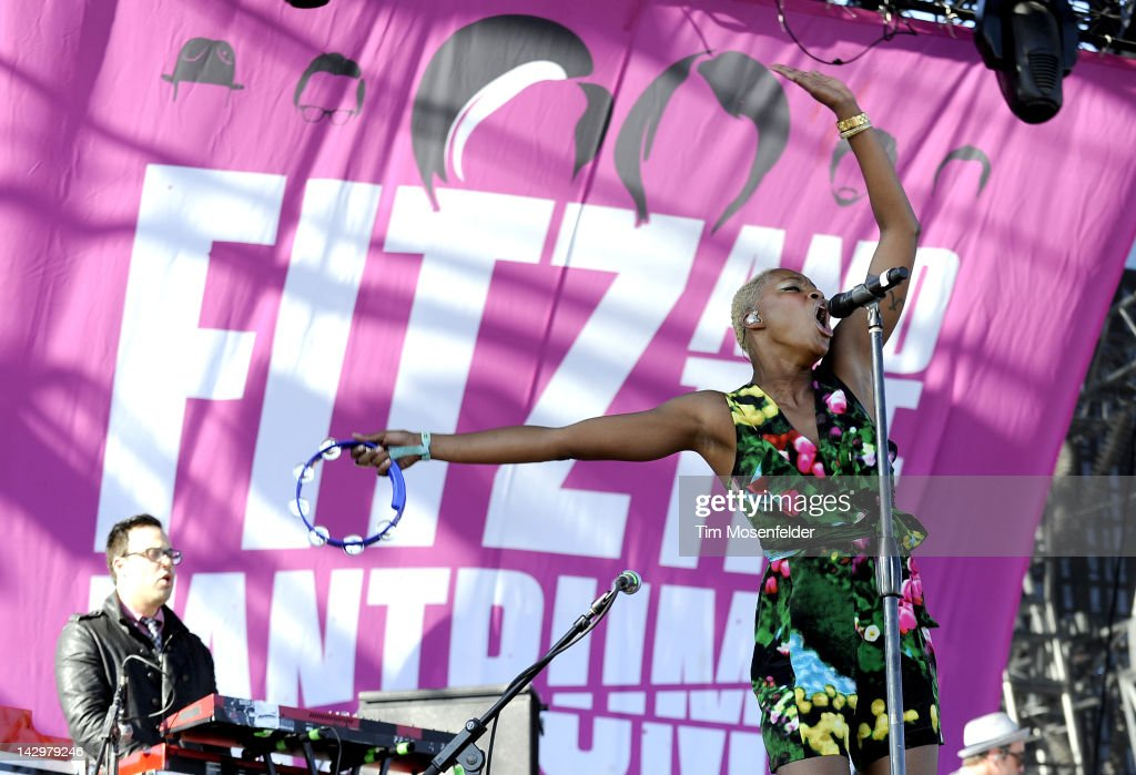 Noelle Scaggs of Fitz and the Tantrums performs as part of Day 3 of the 2012 Coachella Valley Music & Arts Festival at the Empire Polo Fields on April 15, 2012 in Indio, California.
