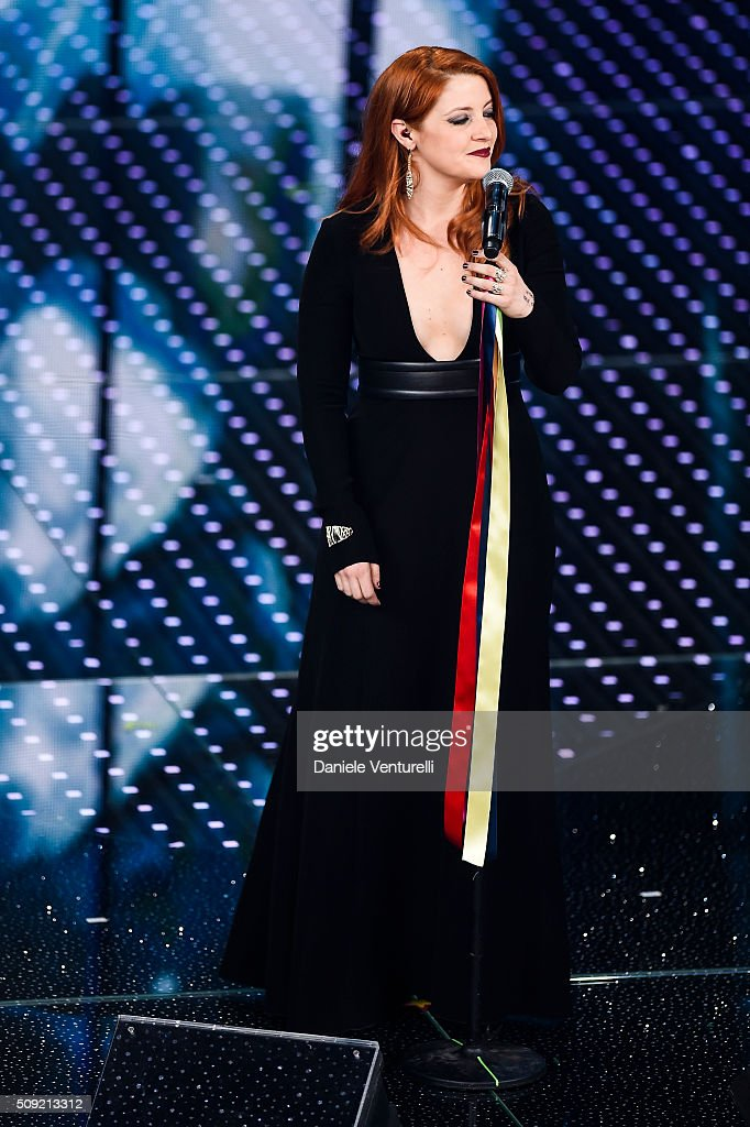 Noemi attends the opening night of the 66th Festival di Sanremo 2016 at Teatro Ariston on February 9, 2016 in Sanremo, Italy.
