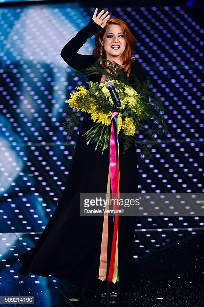 Noemi attends the opening night of the 66th Festival di Sanremo 2016 at Teatro Ariston on February 9 2016 in Sanremo Italy