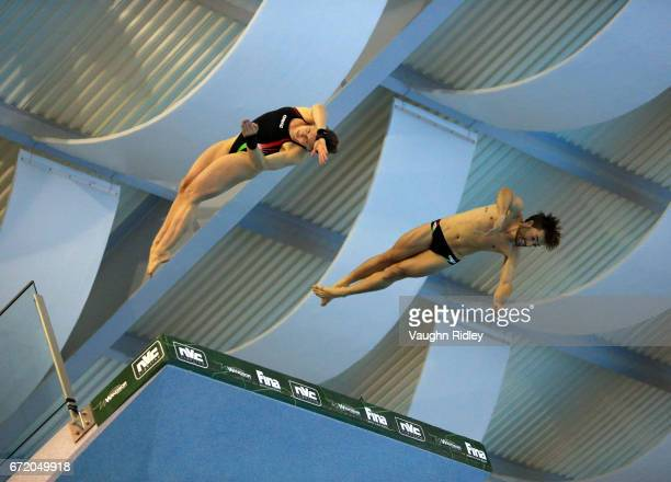 Noemi Batki and Maicol Verzotto of Italy compete in the Mixed 10m Final during the 2017 FINA Diving World Series at the Windsor International Aquatic...