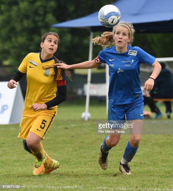 Noemi Bissolo of Hella Verona Women Under 12 competes for the ball with Elisa Pfattner of SSV Brixen obi Women Under 12 in action during the match...
