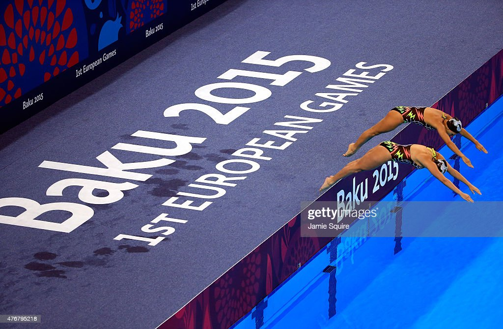 Noemi Carrozza and Laila Huric of Italy compete in the synchronized swimming duet free routine preliminary during day zero of the Baku 2015 European...