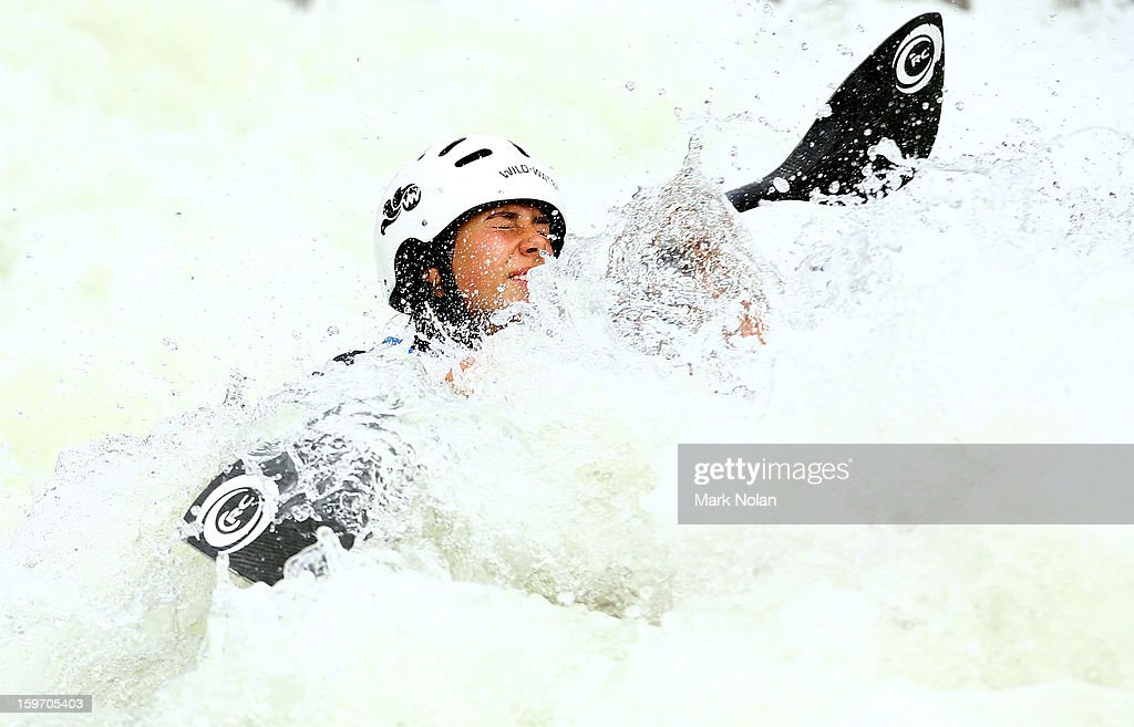 Noemie Fox of Australia competes in the Women's Kayak during day four of the Australian Youth Olympic Festival at the Penrith White Water Stadium on January 19, 2013 in Sydney, Australia.