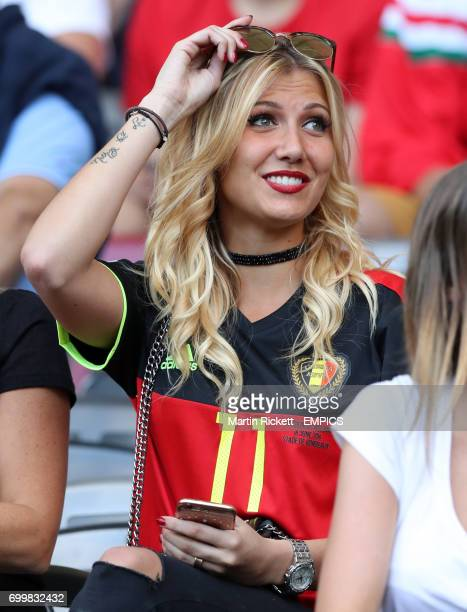 Noemie Happart girlfriend of Belgium's Yannick Carrasco in the stands