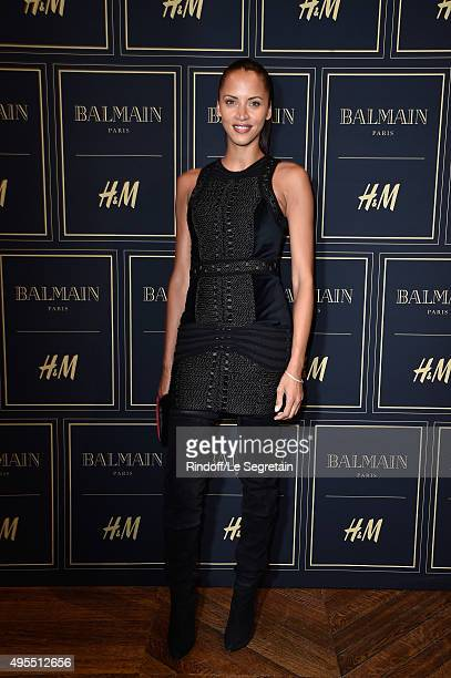 Noemie Lenoir attends a photocall during the BALMAIN x HM Paris Launch Party on November 3 2015 in Paris France