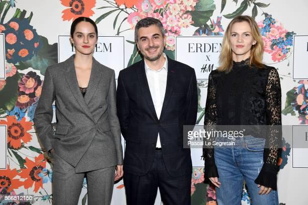 Noemie Merlant Thomas Lourenco and Margot Bancilhon attend ERDEM X HM Paris Collection Launch at Hotel du Duc on October 26 2017 in Paris France