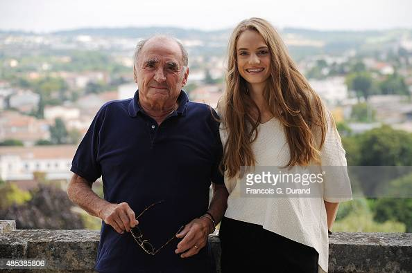 Noemie Schmidt and Claude Brasseur pose at a photocall for the film 'L'etudiante et Monsieur Henri' during the 8th Angouleme FrenchSpeaking Film...