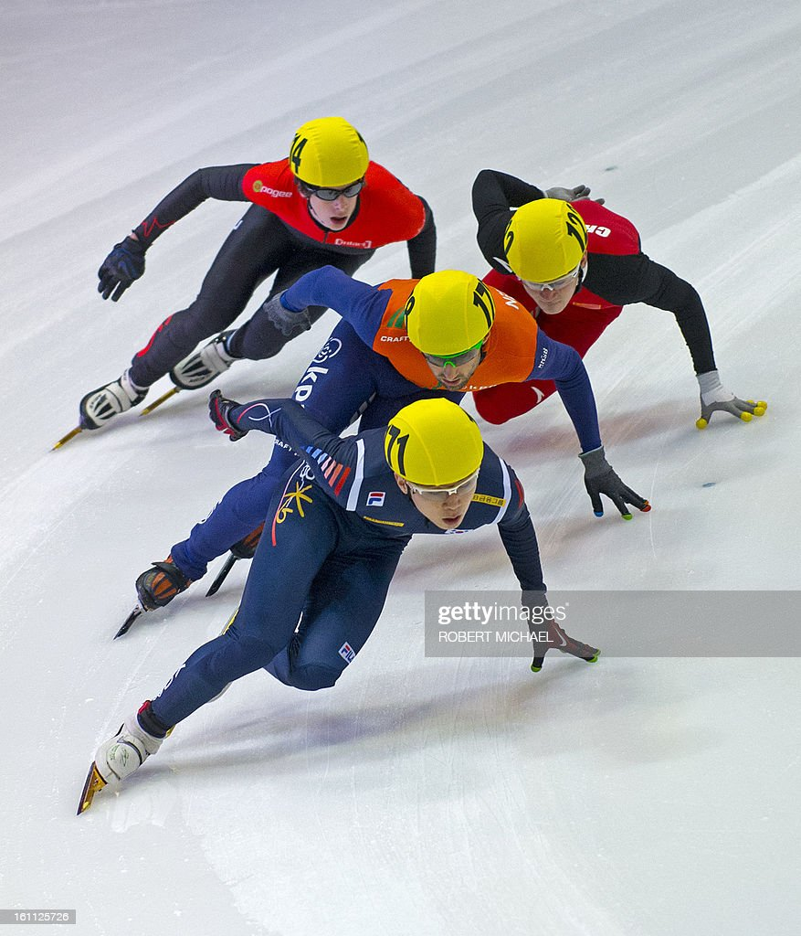 Noh-Jinkyu of South- Korea leads the pack at the men's 1000m semi final race of the ISU World Cup short track speed skating event in Dresden, eastern Germany, on February 9, 2013.