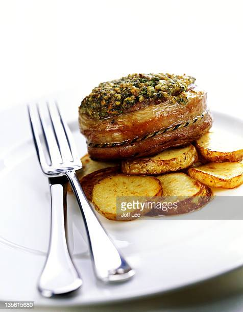 Noisette of lamb with pesto on sauteed potato