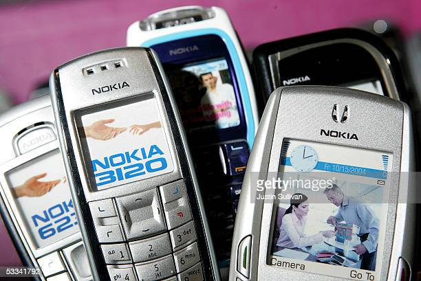 Nokia cellular phones are seen on display at wireless store August 8 2005 in San Mateo California Corp Shares of Finnish mobile phone maker Nokia...