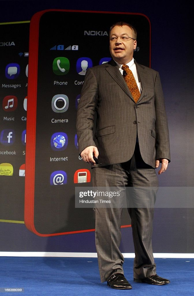 Nokia CEO Stephen Elop during the launch of Nokia Asha 501 smartphone on May 9, 2013 in New Delhi, India. Asha 501 is the first device to run on the new Asha platform and the company chose India to launch this low-cost smartphone device globally.