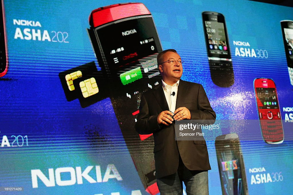 Nokia Chief Executive <a gi-track='captionPersonalityLinkClicked' href=/galleries/search?phrase=Stephen+Elop&family=editorial&specificpeople=7180953 ng-click='$event.stopPropagation()'>Stephen Elop</a> introduces the new Nokia Lumia 920 and 820 Windows smartphones during a joint event with Microsoft on September 5, 2012 in New York City. The new Nokia phones are the first smartphones built for Windows 8. Analysts see the new phones as Nokia's last chance to compete with fellow technology companies Apple and Samsung in the lucrative smartphone market.