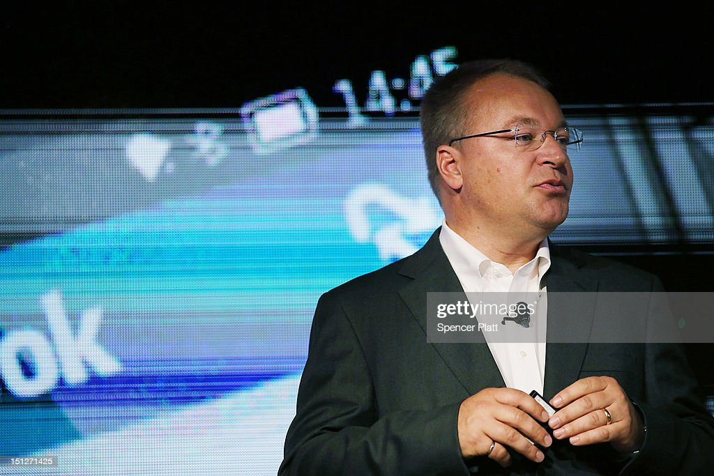 Nokia Chief Executive Stephen Elop introduces the new Nokia Lumia 920 and 820 Windows smartphones during a joint event with Microsoft on September 5, 2012 in New York City. The new Nokia phones are the first smartphones built for Windows 8. Analysts see the new phones as Nokia's last chance to compete with fellow technology companies Apple and Samsung in the lucrative smartphone market.