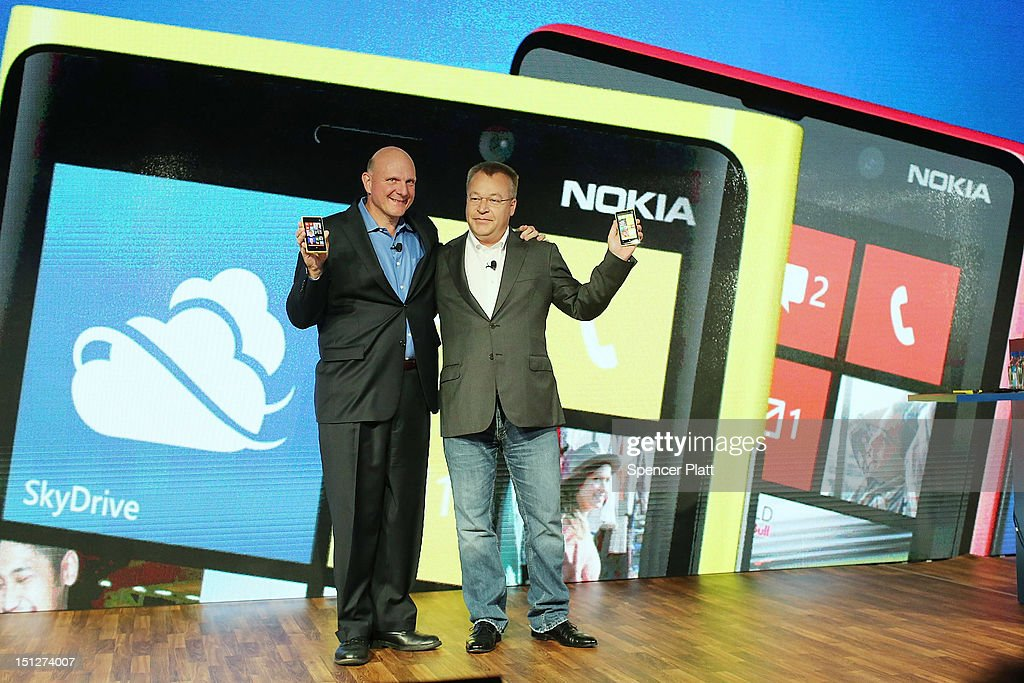 Nokia Chief Executive <a gi-track='captionPersonalityLinkClicked' href=/galleries/search?phrase=Stephen+Elop&family=editorial&specificpeople=7180953 ng-click='$event.stopPropagation()'>Stephen Elop</a> (R) stands with <a gi-track='captionPersonalityLinkClicked' href=/galleries/search?phrase=Steve+Ballmer&family=editorial&specificpeople=211258 ng-click='$event.stopPropagation()'>Steve Ballmer</a>, Chief Executive Officer of Microsoft, during the introduction of the new Nokia Lumia 920 and 820 Windows smartphones on September 5, 2012 in New York City. The new Nokia phones are the first smartphones built for Windows 8. Analysts see the new phones as Nokia's last chance to compete with fellow technology companies Apple and Samsung in the lucrative smartphone market.