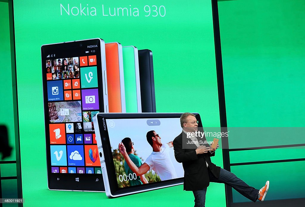Nokia executive vice president Stephen Elop announces the new Nokia Lumia 930 smartphone as he speaks during a keynote address during the 2014...