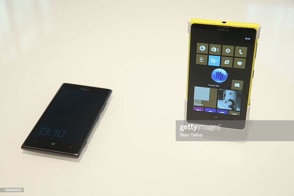 Nokia Lumia phone stands on display in the new Microsoft Berlin center on November 5 2013 in Berlin Germany The Microsoft Berlin center which...