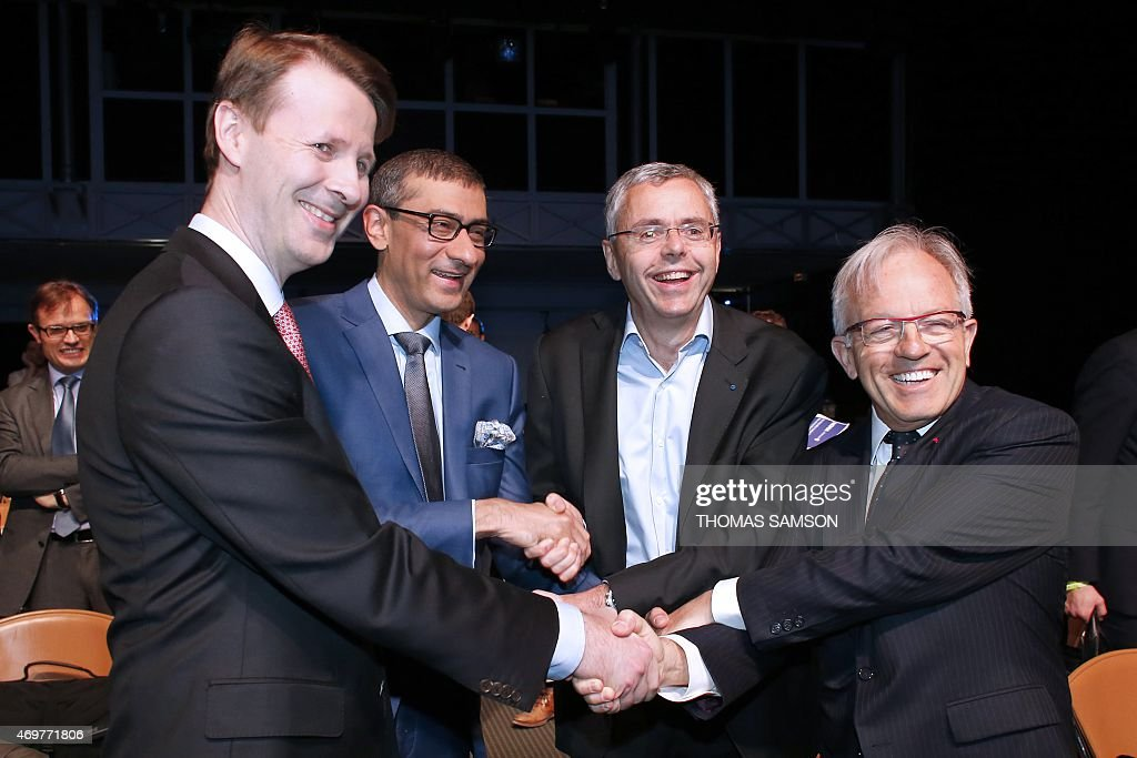- Nokia's chairman Risto Siilasmaa, Nokia's Chief Executive <a gi-track='captionPersonalityLinkClicked' href=/galleries/search?phrase=Rajeev+Suri&family=editorial&specificpeople=7403666 ng-click='$event.stopPropagation()'>Rajeev Suri</a>, Telecom equipment maker Alcatel-Lucent's Chief Executive Officer <a gi-track='captionPersonalityLinkClicked' href=/galleries/search?phrase=Michel+Combes&family=editorial&specificpeople=6531244 ng-click='$event.stopPropagation()'>Michel Combes</a> and Alcatel-Lucent's chairman of the supervisory board Philippe Camus shake hands, on April 15, 2015 in Paris, after officializing the merger of the two companies. Nokia has struck a 15.6-billion-euro deal to buy its rival Alcatel-Lucent to create the world's biggest supplier of mobile phone network equipment. The merger of two companies will produce a European champion able to take on Nokia's Swedish rival Ericsson or fierce Chinese competition.