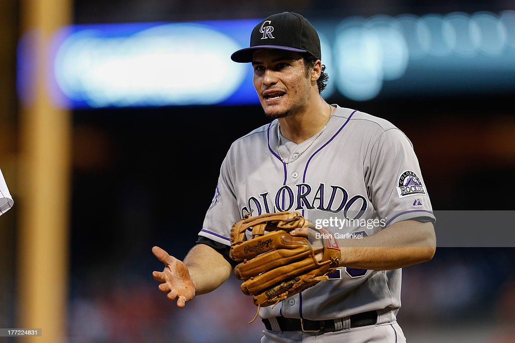 <a gi-track='captionPersonalityLinkClicked' href=/galleries/search?phrase=Nolan+Arenado&family=editorial&specificpeople=7934273 ng-click='$event.stopPropagation()'>Nolan Arenado</a> #28 of the Colorado Rockies challenges an umpire regarding a call in the second inning of the game against the Philadelphia Phillies at Citizens Bank Park on August 22, 2013 in Philadelphia, Pennsylvania.