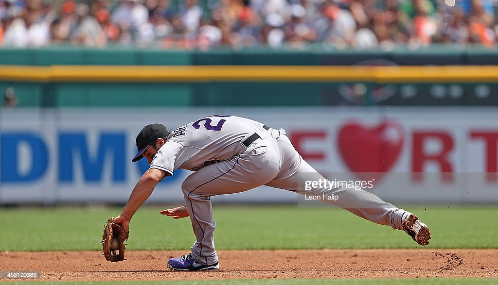Nolan Arenado #28 of the Colorado Rockies makes the play on the ground ball from Eugenio Suarez #30 of the Detroit Tigers (Not In Photo) during the third inning of the game at Comerica Park on August 3, 2014 in Detroit, Michigan.