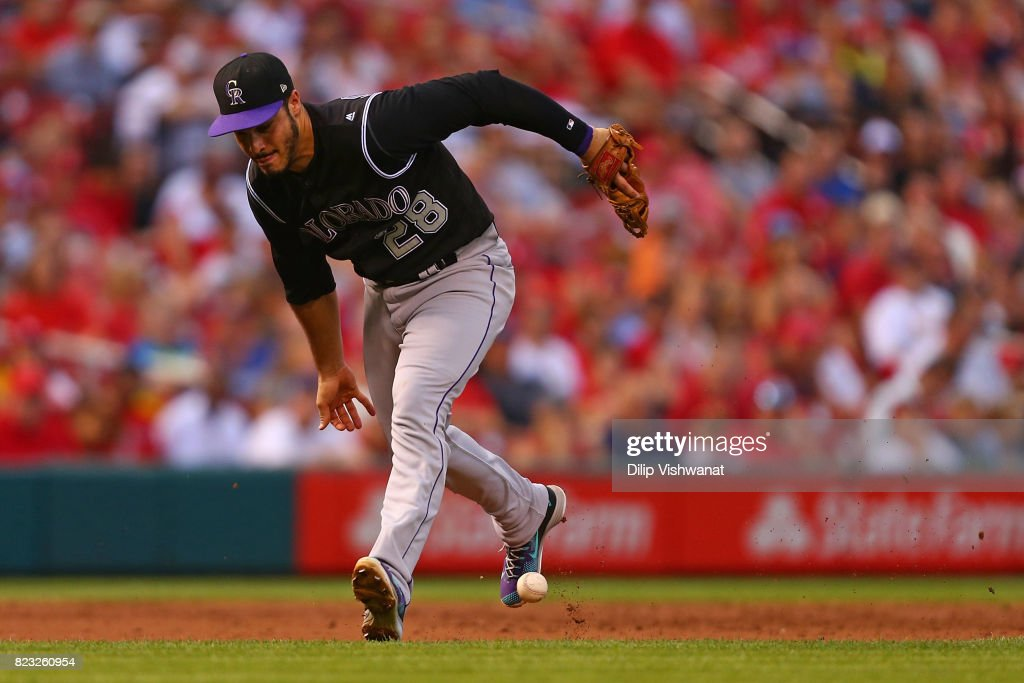 Nolan Arenado #28 of the Colorado Rockies misplays a ground ball against the St. Louis Cardinals in the second inning at Busch Stadium on July 26, 2017 in St. Louis, Missouri.