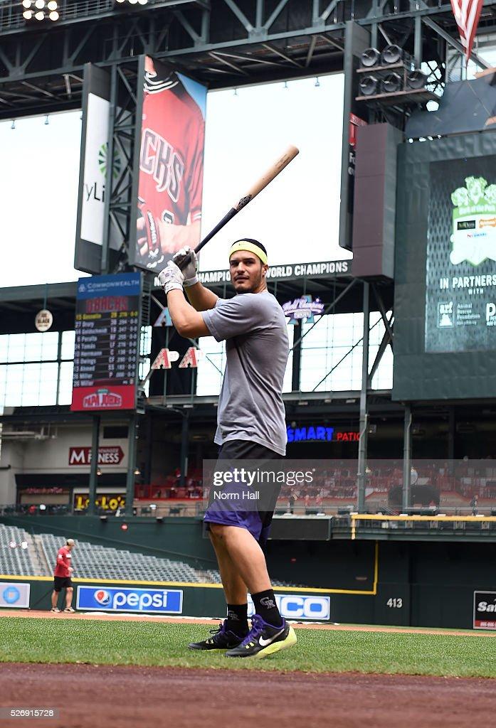 Nolan Arenado #28 of the Colorado Rockies prepares for a game against the Arizona Diamondbacks at Chase Field on May 01, 2016 in Phoenix, Arizona.