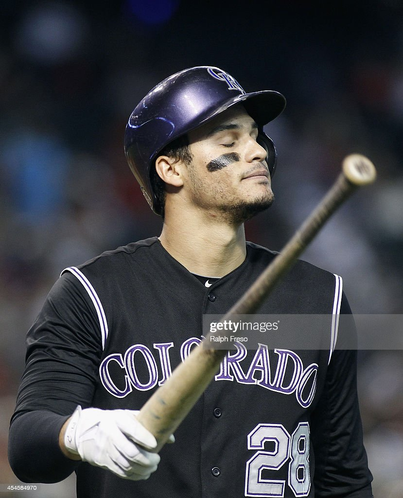 <a gi-track='captionPersonalityLinkClicked' href=/galleries/search?phrase=Nolan+Arenado&family=editorial&specificpeople=7934273 ng-click='$event.stopPropagation()'>Nolan Arenado</a> #28 of the Colorado Rockies reacts after striking out against the Arizona Diamondbacks during the fourth inning of a MLB game at Chase Field on August 31, 2014 in Phoenix, Arizona.