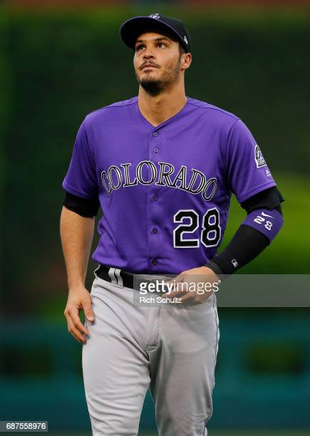 Nolan Arenado of the Colorado Rockies works out before a game against the Philadelphia Phillies at Citizens Bank Park on May 22 2017 in Philadelphia...
