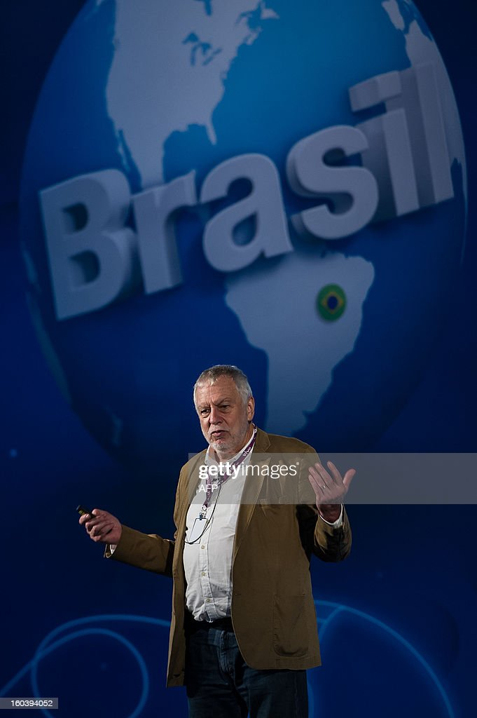 US Nolan Bushnell, founder of video game and home computer company Atari, delivers a speech during the Campus Party event, in Sao Paulo, Brazil, on January 30, 2013. About 8,000 hackers, developers and geeks are expected to attend the annual weeklong, 24-hours-a-day technology event which first started in Spain in 1997 and now spread into various countries. AFP PHOTO/Yasuyoshi CHIBA