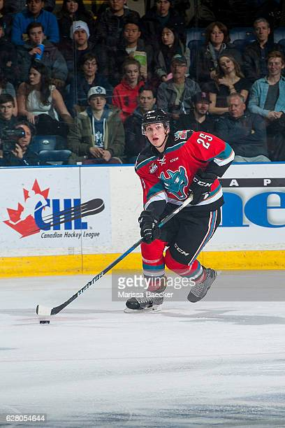 Nolan Foote of the Kelowna Rockets skates with the puck against the Brandon Wheat Kings on December 3 2016 at Prospera Place in Kelowna British...