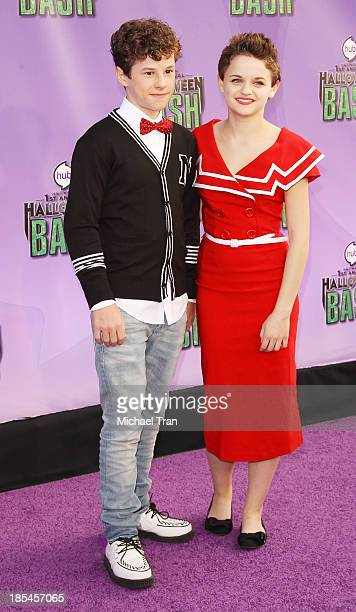 Nolan Gould and Joey King arrive at Hub Network's 1st Annual Halloween Bash held at Barker Hangar on October 20 2013 in Santa Monica California