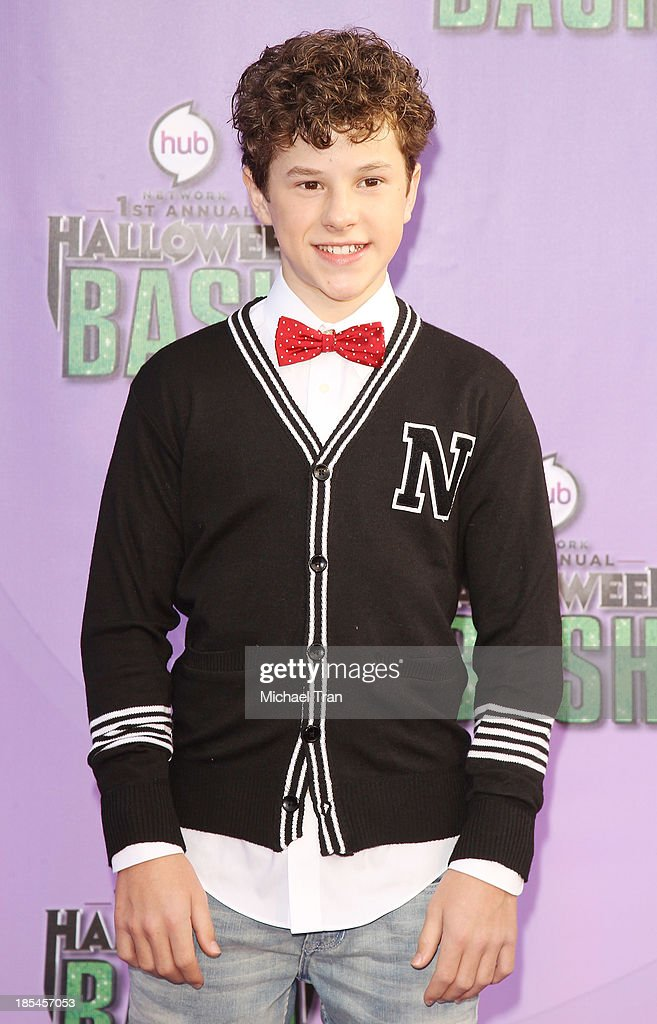 <a gi-track='captionPersonalityLinkClicked' href=/galleries/search?phrase=Nolan+Gould&family=editorial&specificpeople=5691358 ng-click='$event.stopPropagation()'>Nolan Gould</a> arrives at Hub Network's 1st Annual Halloween Bash held at Barker Hangar on October 20, 2013 in Santa Monica, California.