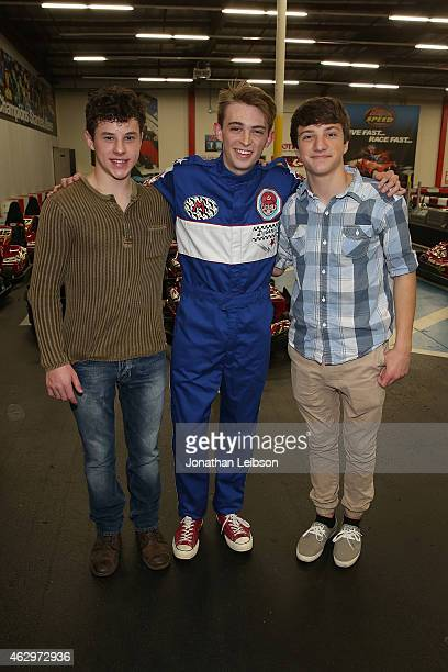 Nolan Gould Dylan Riley Snyder and Jake Short attend the Dylan Riley Snyder Races Into His 18th Year With Nintendo at K1 Speed on February 7 2015 in...
