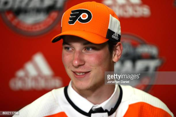 Nolan Patrick is interviewed after being selected second overall by the Philadelphia Flyers during the 2017 NHL Draft at the United Center on June 23...