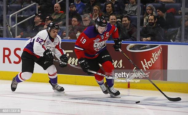 Nolan Patrick of Team Cherry and Markus Phillips Team Orr battle for the puck during the first period of their SherwinWilliams CHL/NHL Top Prospects...
