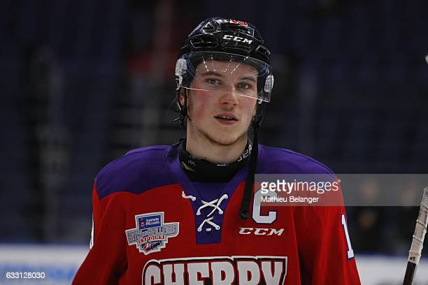Nolan Patrick of Team Cherry looks on during the third period of his SherwinWilliams CHL/NHL Top Prospects Game at the Videotron Center on January 30...