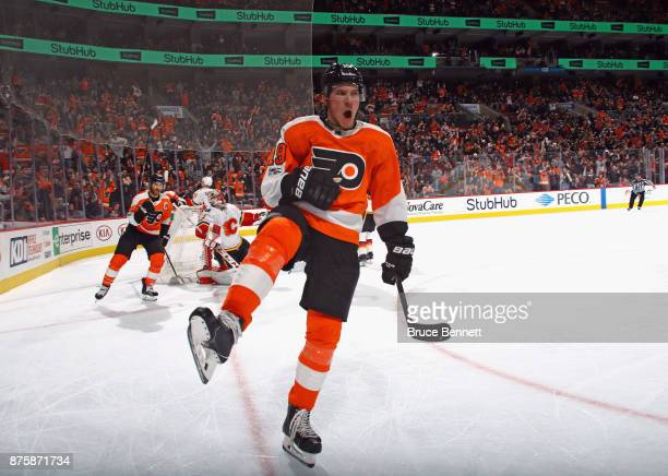 Nolan Patrick of the Philadelphia Flyers celebrates his second period goal against the Calgary Flames at the Wells Fargo Center on November 18 2017...