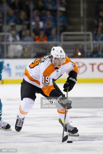 Nolan Patrick of the Philadelphia Flyers in action against the San Jose Sharks at SAP Center on October 4 2017 in San Jose California