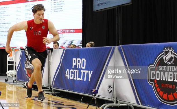 Nolan Patrick performs the ProAgility test during the NHL Combine at HarborCenter on June 3 2017 in Buffalo New York