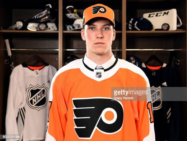 Nolan Patrick poses for a portrait after being selected second overall by the Philadelphia Flyers during the 2017 NHL Draft at the United Center on...